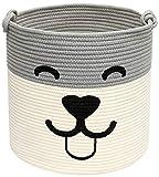Geyecete Baumwollseil gewebt Aufbewahrungskorb für Hundespielzeug, Korb mit SeilGriff für Haustierspielzeug, Wäschekorb für Hunde-Beige/Grau