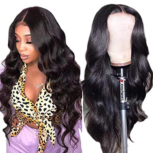 Baluiki 4x4 Lace Closure Wigs Body Wave Lace Front Wigs Human Hair with Baby Hair (16inch, body wave) 150% Density Body Wave Wigs for Black Women Natural Color