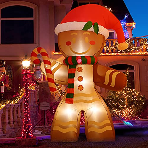 8 FT Christmas Inflatables Decoration Gingerbread Man with Built-in LEDs Blow Up Inflatables for...
