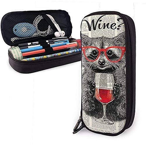 DJNGN Los mapaches usan copas de vino tinto Estuche para lápices de cuero, estuche para lápices Estuche para bolígrafo Estuche fijo