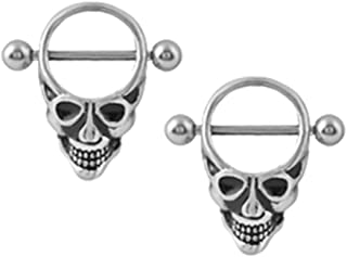 MagiDeal 2pcs Halloween Stainless Steel Skull Head Nipple Bar Ring Shield Barbell