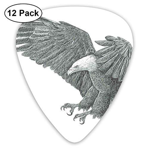 Gitaar Picks12pcs Plectrum (0.46mm-0.96mm), zwart en wit potlood tekening stijl Eagle met gedetailleerde functies wilde natuur, voor uw gitaar of Ukulele