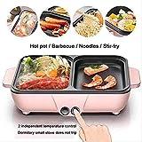OOFAT Korean Barbecue Hot Pot Double Pot, Cuisinière Intégré Pot Électrique Hot Pot Électrique Barbecue Électrique De Cuisson Pan