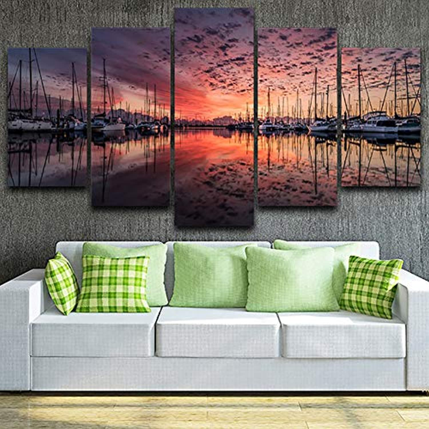 Home Decor Canvas Painting Poster Wall 5 Panel Harbor Sunset Landscape Modern HD Framework Art Living Room Printed Picture