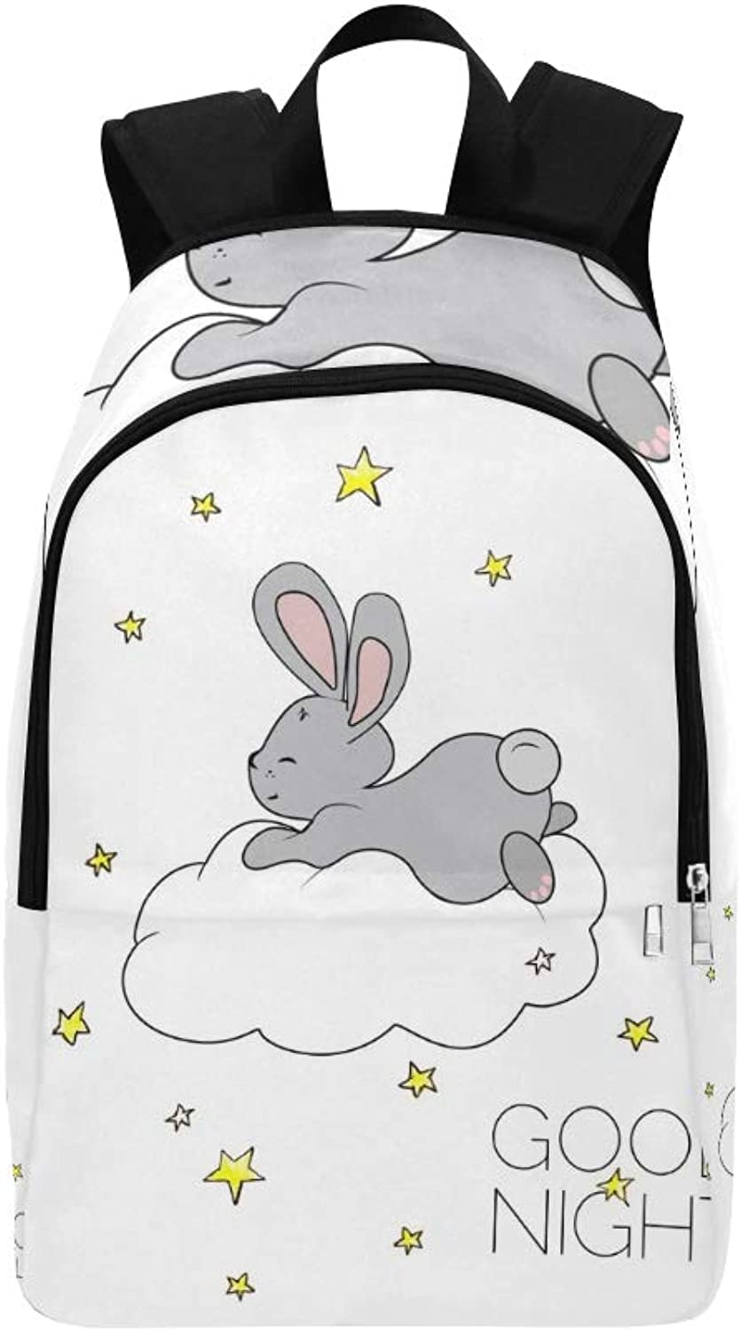 Dreaming Bunny Card Cute Bunny Concept Casual Daypack Travel Bag College School Backpack for Mens and Women
