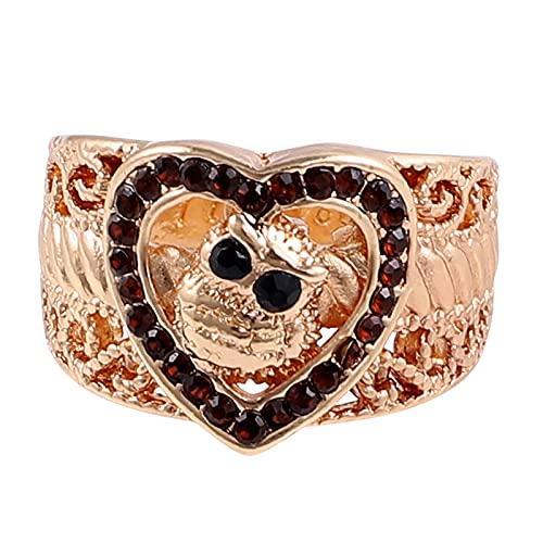 minjiSF Anillo ancho de corazón para mujeres y hombres, moda, anillo de alta calidad, con personalidad, joya clásica, anillo de compromiso, anillo de boda, regalo, anillo de mujer (oro 6, 6)