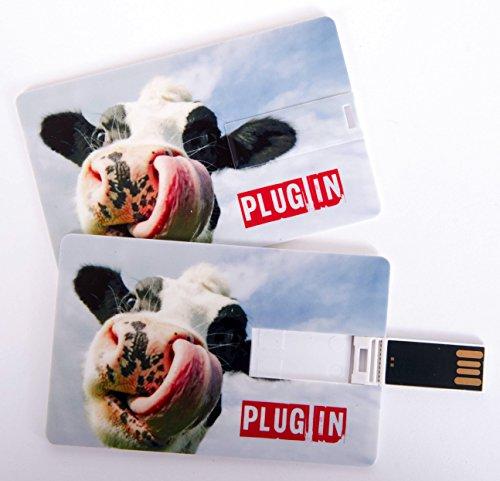 Witziger USB Stick im Visitenkartenformat, Scheckkarte, Kreditkarte, 4 GB, witzige Kuh mit Zunge in der Nase Plug In, ideal als Datenspeicher oder Geschenk