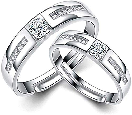 Ring Couple 925 Sterling Silver Rings Men And Women Couple Ring Adjustable Wedding 925 Fine Set Valentine'S Gift