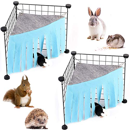 LZYMSZ Hamaca para Tienda de Hámster, 2 Carpas para Escondite de Animales Pequeños, Jaula de Juguete para Casa de Esquina Bosque Forro Polar para Conejillo de Indias Conejo Ratas Erizos(azul)