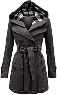 Women's Military Button Hooded Fleece Belted Check Hood Jacket