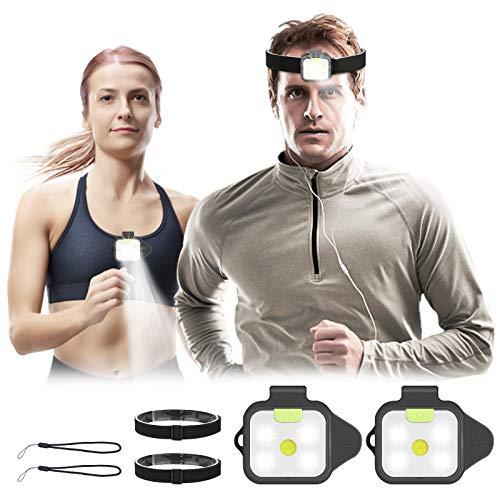 SGODDE Lauflicht Stirnlampe Wiederaufladbar LED, 2 Stücke 2in1 Cliplampe Headlamp, Superhelle Kopfleuchte IPX44 Wasserdicht und Ultraleicht Mini Running Light Clip, für Joggen Campen Kinder und mehr