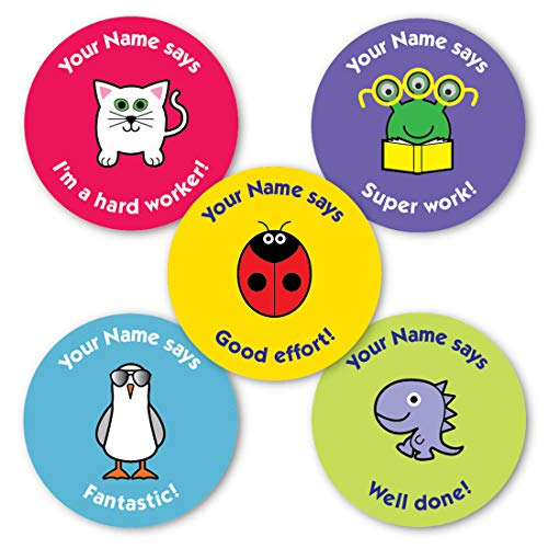 """Personalised reward stickers for Teachers, TA's and Parents.""""Your Name"""" says - Mixed images and captions designed for general reward and praise from The Sticker Factory"""