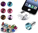 Assorted 12 Piece Gift Set 6 Diamond Ear Phone 3.5mm Plugs Anti-Dust Stoppers with Jewel Boxes for iPhone 5 4/4s 3G 3GS, iPad Mini, iPad, iTouch + 6 Assorted Pieces Crystal Diamond Home Button Stickers