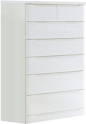 大川家具 SUN ハイチェスト ベスト(幅80cm) ホワイト色