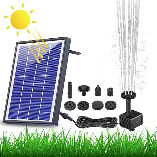 AISITIN 6.5W Solar Springbrunnen Eingebaute1500 mAh Batterie Upgraded Solar Teichpumpe Wasserpumpe Solar Schwimmender Fontäne Pumpe mit 6...