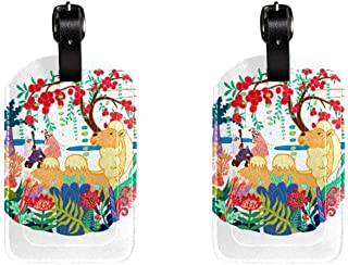 Forest And AnimalsLeather Luggage Tags Suitcase Labels Bag Travel ID Bag Tag, 1 Pcs