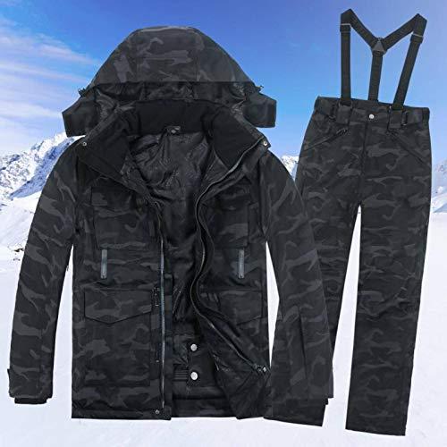 N-B Traje de esquí de los hombres a prueba de viento solo par de conjuntos de esquí chaqueta+pantalones coeficiente impermeable camuflaje hombre esquí conjuntos