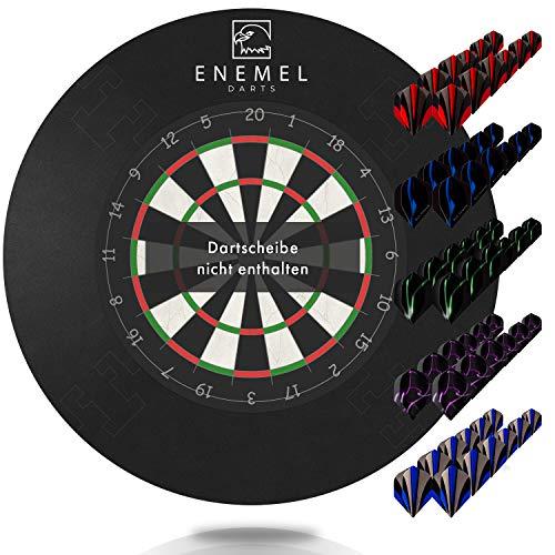 ENEMEL® Dart Surround 17,7 Zoll – inkl. 60 Ersatz-Flights – Dartscheibe Schutzring – Dickes Material (Ø44,95cm)