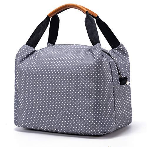 CALIYO Lunchtasche Kühltasche klein Isoliertasche wassedicht Lunchbag mit Reißverschluss Thermotasche faltbar für Arbeit, Schule und unterwegs 9 Liter (Grau)