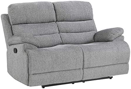 Best Lexicon Betong Double Reclining Loveseat, Smoke Grey