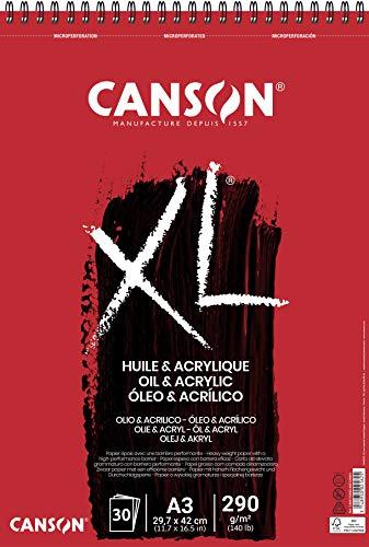 Canson Album 30 Feuilles XL Huile Et Acrylique - Spiralé Petit Côté - A3 290g/m²