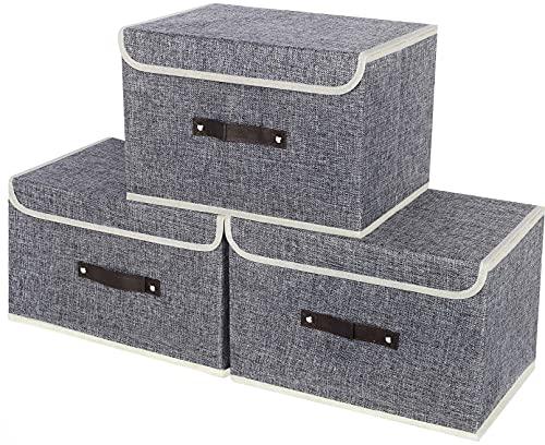 3 Piezas Cajas de Almacenamiento con Tapa, Cajas Organizadoras Plegables con Asa de Cuero, Cestas de Almacenamiento de Juguetes, Armario, Oficina, Ropa y Ropa Interior Cajas de Tela 38x25x25cm * Gris
