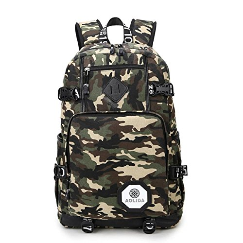 Cute Lightweight Canvas Polka Dot Backpack School Laptop Book Bag Rucksack for Teen Girls or Boys -Camouflage