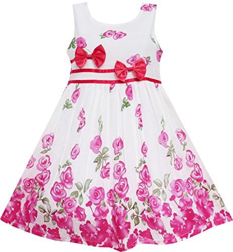 Vestido para niña Rosa Flor Doble Corbata de moño Fiesta Cumpleaños Verano...
