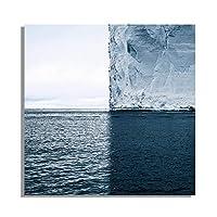 """青い海の氷山風景キャンバス絵画ポスターとプリント壁アート写真リビングルームの家の装飾31.5"""" x31.5""""(80x80cm)フレームレス"""