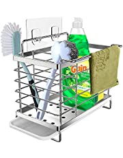 Orimade Organizador Sink Caddy Soporte para Utensilios de Cocina Adhesivo &Encimera para el Fregadero Acero Inoxidable