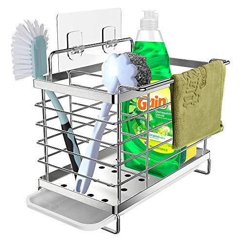 Orimade Spülbecken Caddy Organizer Utensilien Korb für Küche & Badezimmer mit Abflusspfanne, Klebstoff und Arbeitsplatte, Dual-Use Schwamm Bürste Seifenschale Halter SUS304 Edelstahl