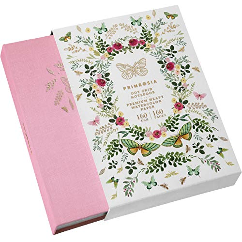 Primrosia A5 Dot Grid Watercolor Journal Notebook – 160 Pages I 160gsm Premium Heavy Paper, No Bleed – Luxe Linen Hard Cover with Cute Butterfly Slip Cover (Blushing Pink)