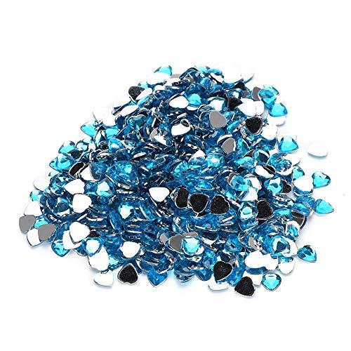 BIKING Diamante acrílico, 1000 Uds, Decoración de Boda de Diamante acrílico, Accesorios de Bricolaje, decoración de Tarjetas, Forma de corazón(Azul)