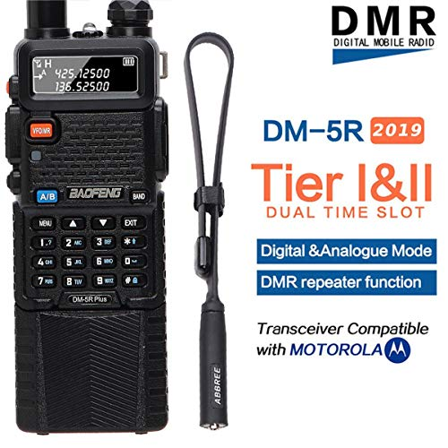 BaoFeng DM-5R Plus DMR Dual Band (136-174MHz VHF & 400-480MHz UHF) Dual Time Slot Digital (DMR and Analog) Two-Way Radio Compatible with MOTOTRBO+ USB Programming Cable +Tactical Antenna