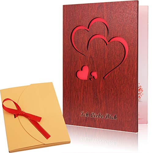 Creawoo handgemachte Liebes-Grußkarte aus Walnuss-Holz mit einzigartigem Geschenk-Karton Die beste Geschenkidee-Karte für Geburtstag, Valentinstag, Jahrestag.