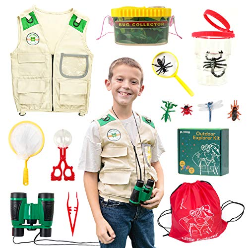 Yippee Toys Outdoor Explorer Kit for Kids Boys & Girls - Bug Catcher Kit - Premium Safari Vest, Kids Binoculars, Bug Capsules, Bug Collection, Magnifying Glass - Kids Camping for Age 3 4 5 6 7