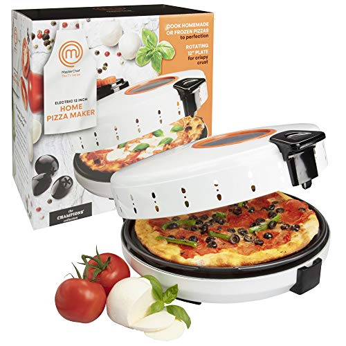 MasterChef Pizza Maker- Electric Rotating 12 Inch Non-stick Calzone Cooker - Countertop Pizza Pie and Quesadilla Oven w Adjustable Temperature Control