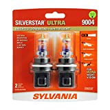 SYLVANIA - 9004 SilverStar Ultra - High Performance Halogen Headlight Bulb, High Beam, Low Beam and Fog Replacement Bulb, Brightest Downroad with Whiter Light, Tri-Band Technology (Contains 2 Bulbs) (9004SU.BP2)