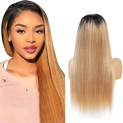 NIUDINNG Echthaar Perücke für Frauen Ombre Hair Wig Glatt Brasilianische Haare Ombre Blond Wig Kurz 4x4 Closure Wig Free Part mit Baby Hair 12 zoll