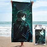 Sword Art Online Kirigaya Kazuto Toalla de secado rápido microfibra ligera para adultos Toallas de playa suaves para piscina, natación, viajes, silla de baño, gimnasio, deportes, 27.5 x 55 pulgadas