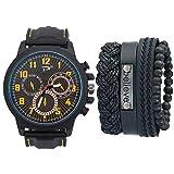 HYH Reloj De Cuarzo De Silicona para Hombre De Negocios Informal/para Mujer + Juego De Pulsera (5PCS / Set) Reloj Buena Vida (Color : Yellow)