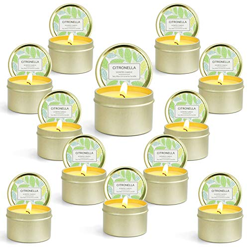 LASENTEUR Citronella Candles Natural Soy Wax Scented Candles Gift Set for Indoor and Outdoor for Garden Picnic Terrace - 12 Candles
