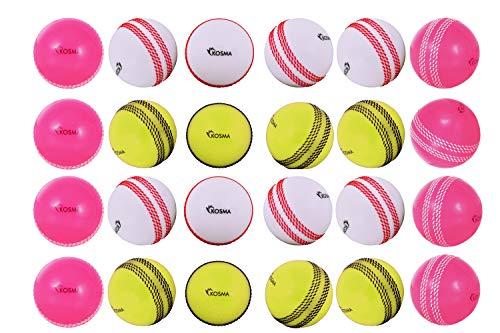Kosma 24-teiliges Set Windball Cricket Ball   Weiche Trainingsbälle   Indoor Training Skills Coaching Bälle - 8 Stück Weiß mit roter Naht, Rosa mit weißer Naht, Flourecent Gelb mit schwarzer Naht