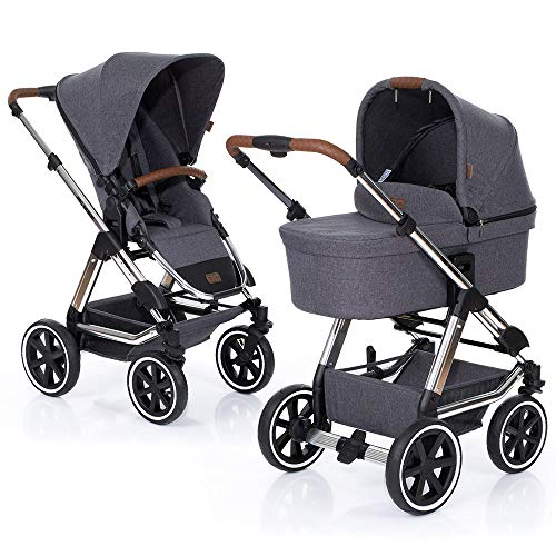 ABC Design Kombi Kinderwagen Condor 4 Air - 2in1 Set mit Babywanne und Sportwagen Buggy Aufsatz - Diamond Special Edition 2019 - Asphalt