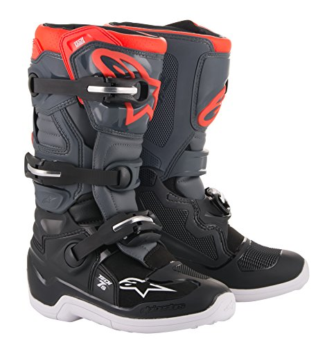 Alpinestars Youth Tech 7S Motocross Boot, Black/Dark Gray/Red, 6