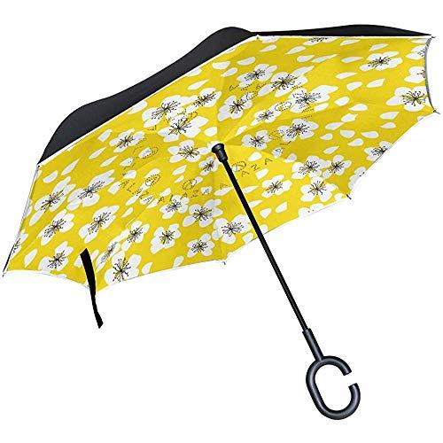 Umgekehrter Regenschirm Japanisches Kirschblüten-Eiben-Muster, Doppelschicht-Umkehrregenschirm wasserdicht für Auto-Regen im Freien mit C-förmigem Griff