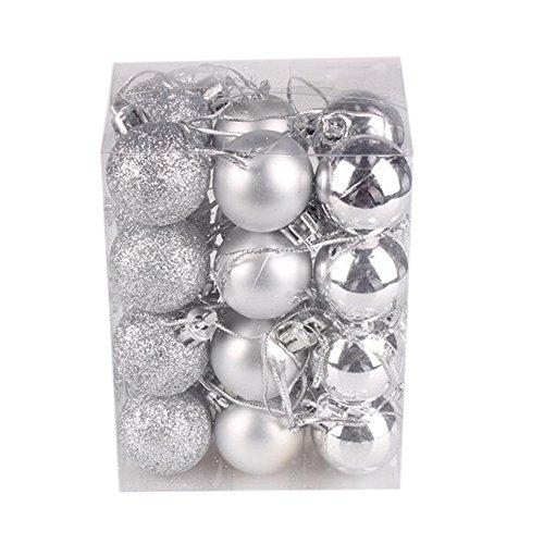 Janly Clearance Sale Bola de árbol de Navidad de 30 mm para colgar en el hogar, fiesta, decoración del hogar para el día de Pascua (plata)