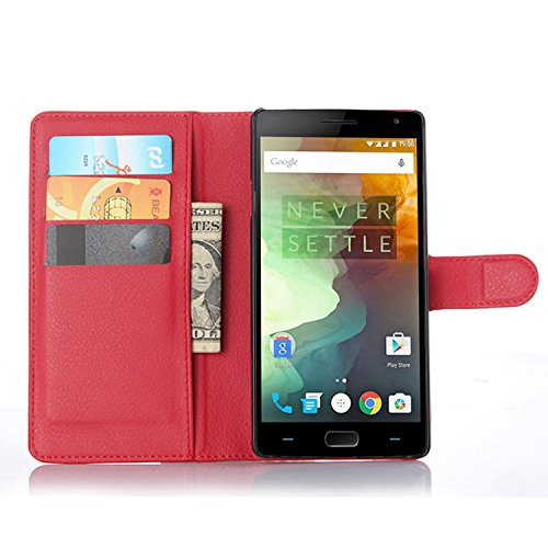 Ycloud Tasche für OnePlus Two Hülle, PU Ledertasche Flip Cover Wallet Hülle Handyhülle mit Stand Function Credit Card Slots Bookstyle Purse Design rote