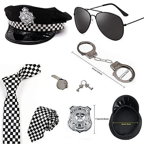 SnowDream Sexy policía Traje Mujer Accesorios Insignias Sombrero y Distintivo Oficial policía Adulto niños Vestir Disfraces Mujeres Halloween Hombres Hombres fantasía batón Traje para Mujer,A