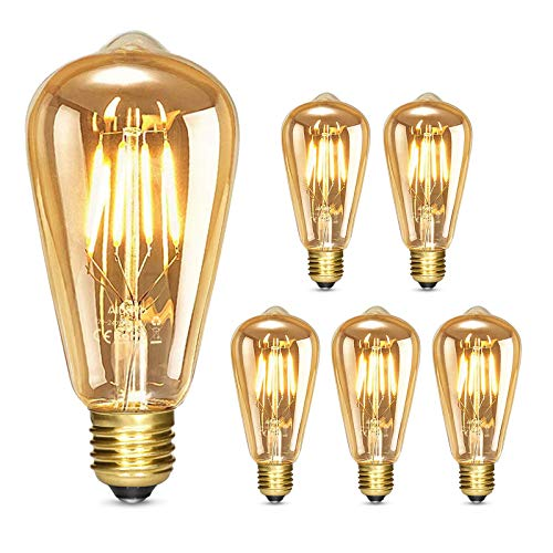 Albrillo Ampoule LED E27 Vintage Edison ST64, Dimmable Ampoule Filament 4W 400Lm, Equivalent 40W, 2500K Blanc Chaud Antique Ampoule Decorative pour Bars, Restaurant, Café, Windows, Showrooms, Lot de 5